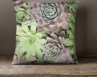 Succulent Decorative Throw Pillow Cover, Fine Art Photo Pillow Case, Floral Pillow Cover, Succulent Pillow Cover, Gift for Her