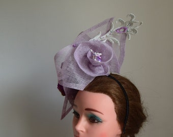 Large lilac  fascinator for Races or Wedding