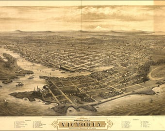 Poster, Many Sizes Available; Bird'S-Eye View Map Of Victoria, Vancouver Island, B.C. 1878