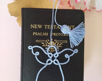 SKY Angel Tatted Lace Bookmark with Tassel Handmade Tatting Baby Blue