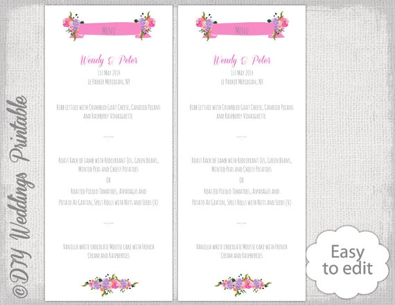 Wedding menu template watercolor flower printable menu diy mightylinksfo