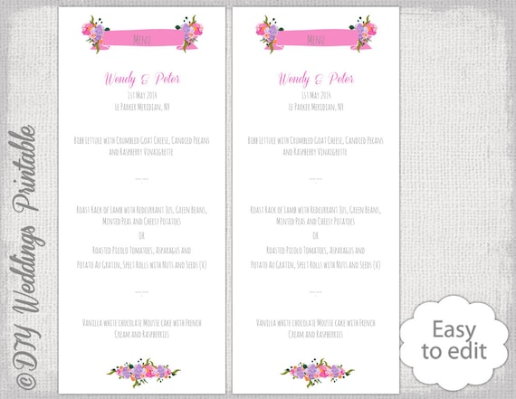 Wedding menu template watercolor flower printable menu diy wedding menu template watercolor flower printable menu diy tutti frutti pink orange lilac editable you edit word instant digital download mightylinksfo Choice Image