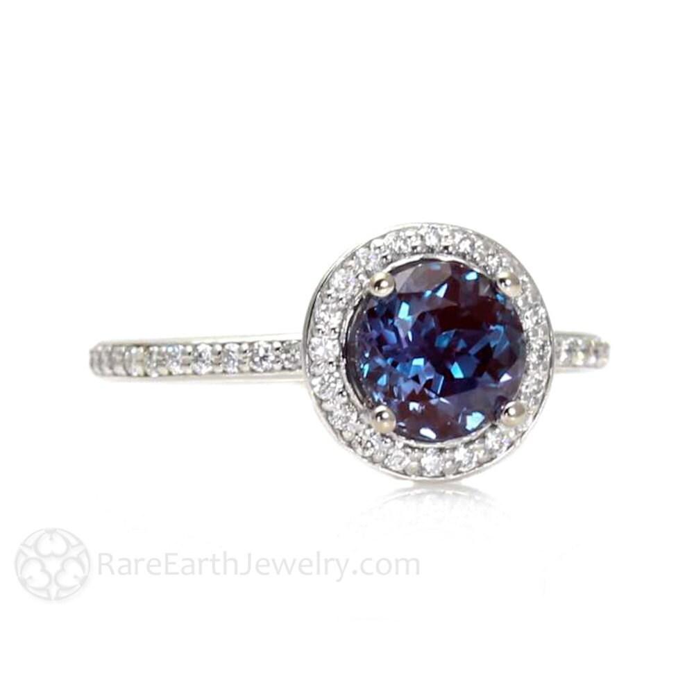 Alexandrite Engagement Ring Alexandrite Ring Diamond Halo June
