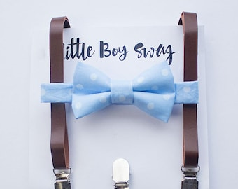 Brown Leather Suspenders with Light Blue Bow Tie, Boys Birthday Outfit, Ring Bearer Outfit, Boy Bow Tie, First Birthday Boy, Wedding Bow Tie