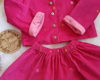 Pink corduroy lined jacket & skirt set