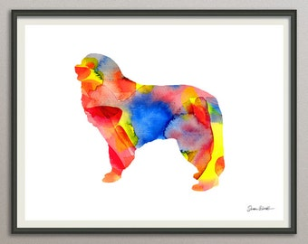 great pyrenees dog art print watercolor print poster painting wall art silhouette , dog wall art