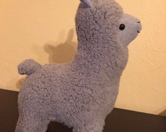 Light grey faux fur sherpa stuffed llama