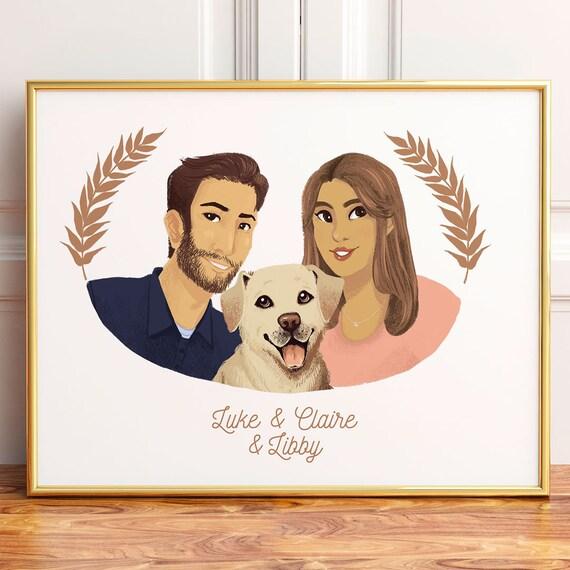 couple animaux portrait cadeau de saint valentin portrait de. Black Bedroom Furniture Sets. Home Design Ideas