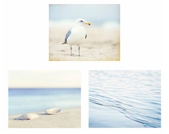 Beach Photography Set - Three 11x14, 8x10 Light Blue Photographs - seashore wall art coastal print white cream pale seashell sea shore ocean