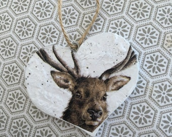 Stag decoupage hanging heart