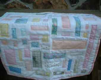 Small Pink Ticker Tape Baby or Wall Quilt