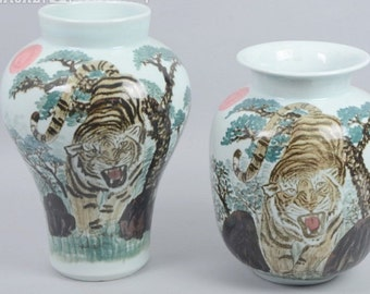 40% OFF!!! 1 Set- (2) Large Porcelain Vases with Hand-Painted Tigers, Qianjiang Style