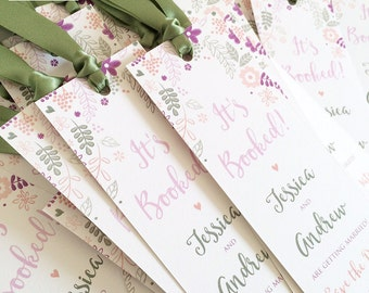 Wedding Save the Date Bookmarks - Floral Save the Date Cards - Rustic Bookmark Save the Dates - Vintage Design - Available in any colours