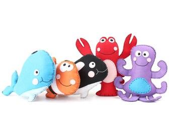 Sea Stuffed Animal Patterns, Felt Ocean Softies, Clown Fish, Octopus, Lobster, Orca, & Whale Plushie Patterns