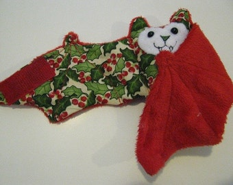 Christmas Holly with Green nose on Red Faux Fur Bat Coffee Cozy, Cup Sleeve, Stuffed Animal