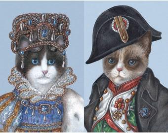 Joséphine and Napoleon - 2 Art Prints - French Cat Prints - Bonaparte Art - Funny Pet Portraits by Maria Pishvanova