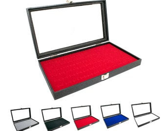 Novel Box® Glass Top Black Jewelry Display Case + Red 72 Slot Ring/Cufflink