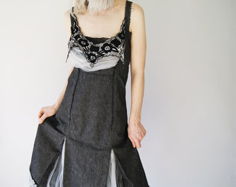 Deconstructed Gothic Gray Vintage Dress