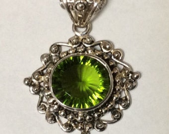 Green Faceted Peridot, Beautifully Faceted  Peridot, Beaded Sterling Silver Pendant