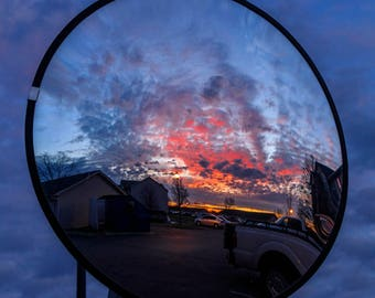 Sunset in Convex Mirror Photograph 13 inches by 19 inches