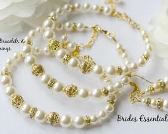 3 Set of Bridesmaid Bracelets Earring, Ivory Pearl Bracelet, Bridesmaid Bracelet, Wedding Jewelry, Bridesmaid Jewelry Set, Bridal Party Gift