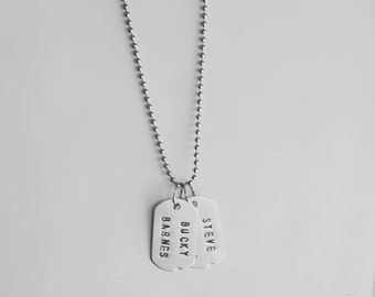 Steve Rogers & Bucky Barnes - Captain America Winter Soldier - Marvel  - Marvel Necklace - Dog Tag Necklace
