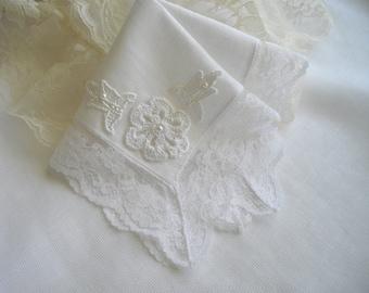Imported Irish Linen Wedding Handkerchief Lace Edged Vintage Inspired Keepsake Hankie Bouquet Wrap Hand Crochet Motif  Handcraftusa