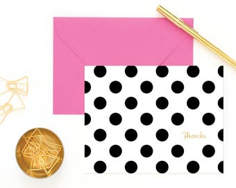 """Handmade Black & White Polka Dot Note Cards with Real Foil - Set of 8   Reads """"Thanks"""", """"Merci"""", """"Gracias"""", and """"XOXO"""""""