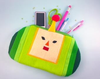 Katamari Pouch | Prince Pencil Case | Cute Green Zippered Pouch