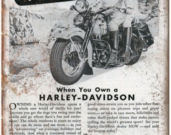 "Harley Davidson Motorcycle Ad Vintage 10"" x 7"" Reproduction Metal Sign F58"