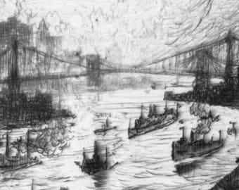 Sunset from Williamsburg Bridge, 1915, etching repro, New York City, Manhattan, East River, Brooklyn, Delancey, Apartment Dweller Lovely BOP