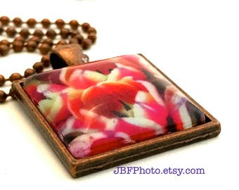 Tulips of Barcelona Floral Pendant Glass Tile Photo Necklace GT137