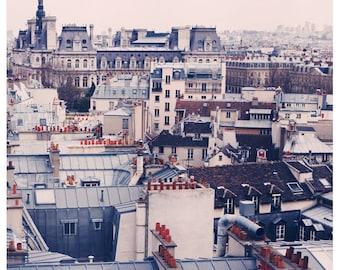 Paris Photography - Paris Rooftops Photograph - French Photography - Paris Skyline - Fine  Art Photograph - Paris Art -Blue Print - Pink Art