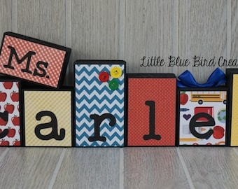Teachers Name Wooden Block Set - Custom Teacher gift - Classroom decor - end of the year gift - teacher christmas gift - graduation gift