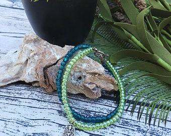 Handcrafted jewelry, 2 strand layering chakra layering bracelet