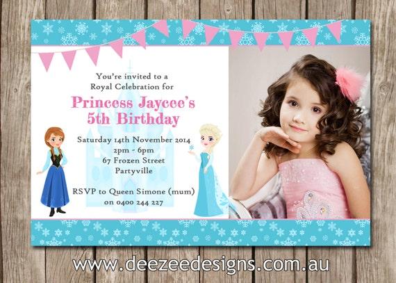 Frozen themed photo personalised birthday invitations you filmwisefo