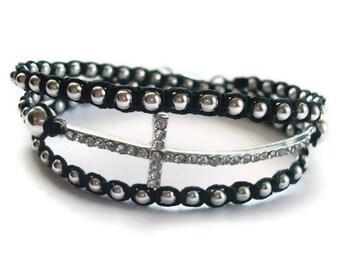 Silver Sideways Cross Beaded Bracelet