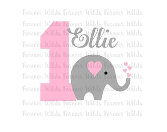 First Birthday SVG - Elephant Birthday svg - silhouette cut file - cricut svg - svg - Birthday svg - name NOT included