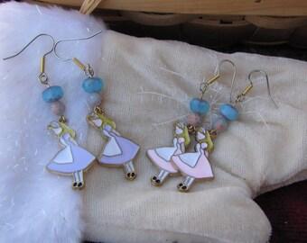 Alice and wonderland earrings- choose pink or lavender