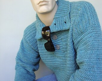 Men's Sweater, Men's Sweaters, Wool Sweater, Sky Blue Sweater, Optional Funnel Neck, Gift for Him, Brother Gift, Available in S/M, L and Xl
