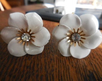 Vintage Gold Tone 1950s to 1960s White Enamel Flower Clip on Earrings Signed Coro Non Pierced Rhinestone