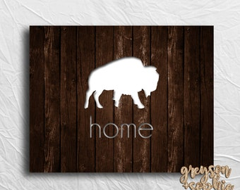 Buffalo Home Digital Print, Instant Download, Rustic Wood Printable