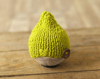 Newborn hat, Wool hat, Green hat, Photo prop