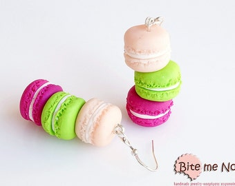French Macarons Tower Hook Earrings, Mini Food, Macaron Earrings, Polymer Clay Macaron, Pastel Macarons, Macaroon Jewelry, Kawaii Jewelry