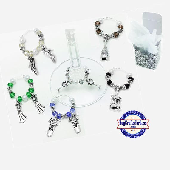 LADIES Theme WiNE or Bottle CHARMs, Glass and Silver Beads, Set of 6!  +FREE SHiPPiNG & Discounts*