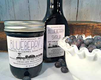 Blueberry Jam and Blueberry Syrup Combo - Breakfast Syrup - Real Fruit Syrup - Hostess Gift - Housewarming Gift - Boondock Enterprises