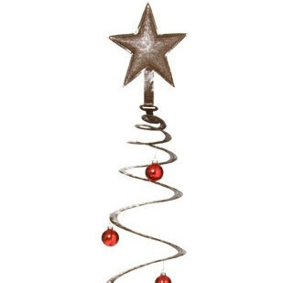 "Spiral Christmas Tree, Recycled Steel, Haiti Metal Wall Art 14"" x 30"""