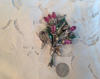 Vintage brooch, flower spray of pink baguettes, rhinestones