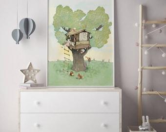 Tree house, Girls room decor, nursery wall art, girls room art, art for kids room, girls wall decor, wall art for girls, prints for girls