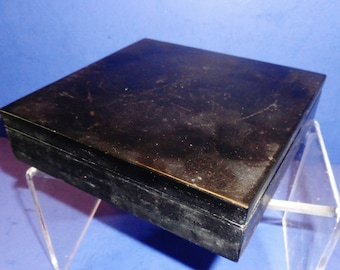 246--Vintage antique Chinese black ink square slab w, a deep triangle hole as a water ink reservoir at corner